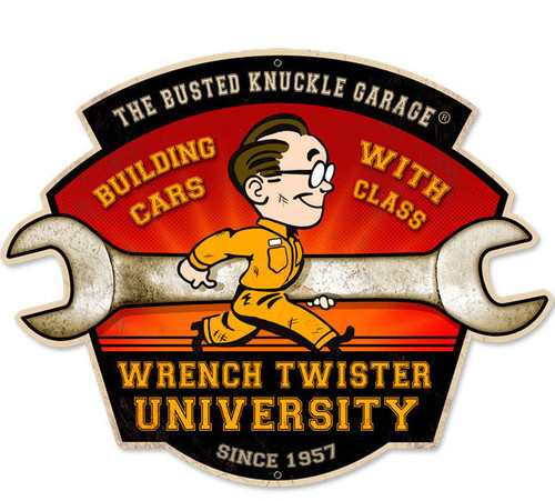 Retro Wrench Twisters Custom Shape Metal Sign  21 x 17 Inches
