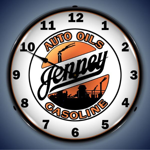 Retro Jenny Gasoline Lighted Wall Clock 14 x 14 Inches