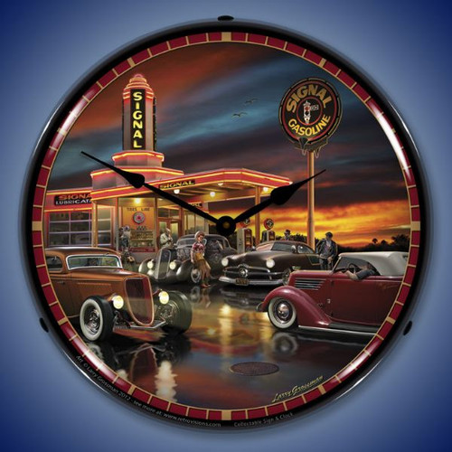 Retro Cruising the Signal Lighted Wall Clock 14 x 14 Inches