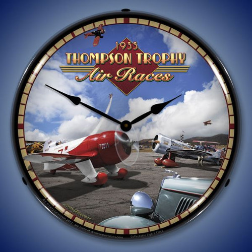 Vintage Air Races Lighted Wall Clock 14 x 14 Inches