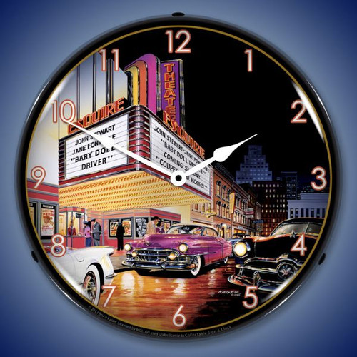 Retro Esquire Theatre Lighted Wall Clock 14 x 14 Inches