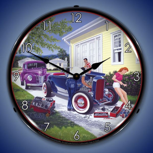 Retro Shade Tree Mechanic Lighted Wall Clock 14 x 14 Inches