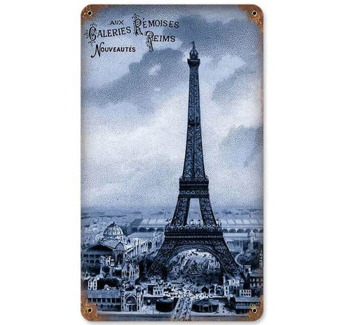 Retro Eiffel Tower Metal Sign 8 x 14 Inches