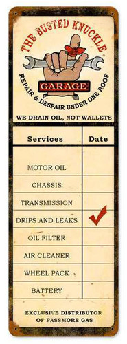 Retro Drain Oil Service Metal Sign  8 x 24 Inches