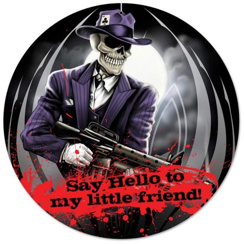 Vintage Skull Gangster Round Metal Sign 14 x 14 Inches