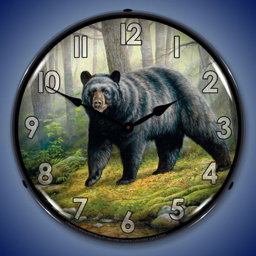 Woodland Morning Bear Lighted Wall Clock 14 x 14 Inches