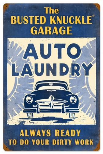 Retro Auto Laundry Metal Sign 16 x 24 Inches