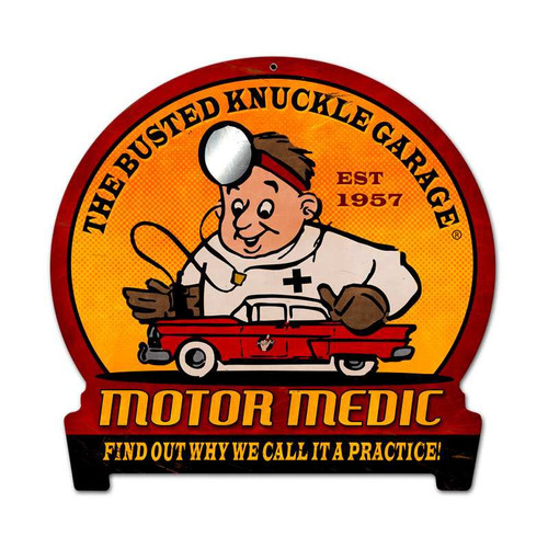 Retro Motor Medic Round Banner Metal Sign 15 x 16 Inches