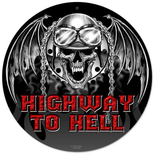 Vintage Highway to Hell Round Metal Sign 14 x 14 Inches