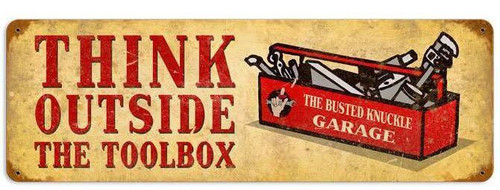 Retro Outside the Toolbox Metal Sign  24 x 8 Inches