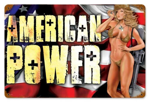 Vintage American Power Pinup  - Pin-Up Girl Metal Sign 12 x 18 Inches