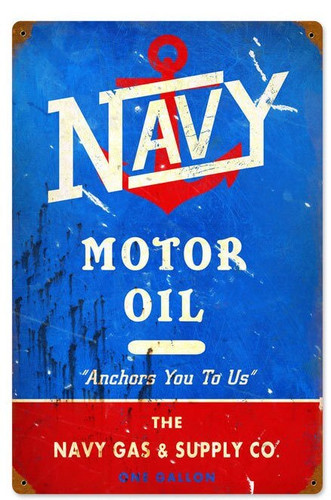 Retro Navy Motor Oil Metal Sign 18 x 12 Inches