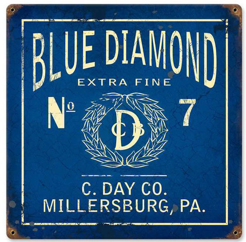 Retro Blue Diamond Vintage Metal Sign   12 x 12 Inches