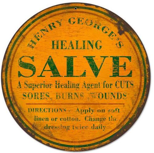 Retro Healing Salve Round Metal Sign 14 x 14 Inches