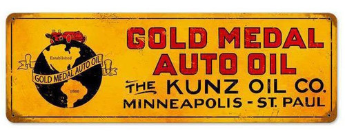 Retro Gold Metal Oil Vintage Metal Sign 24 x 8 Inches