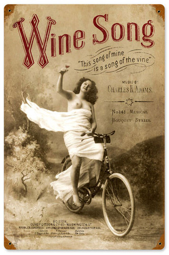 Retro Wine Song Vintage Metal Sign   12 x 18 Inches