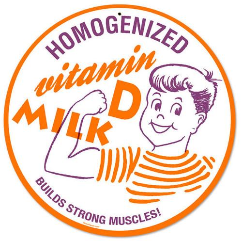Retro Homogenized Milk Round Metal Sign 14 x 14 Inches