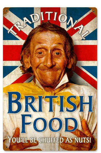 Retro British Food Metal Sign 12 x 18 Inches