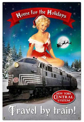 Retro Christmas Train Metal Sign 24 x 36 Inches
