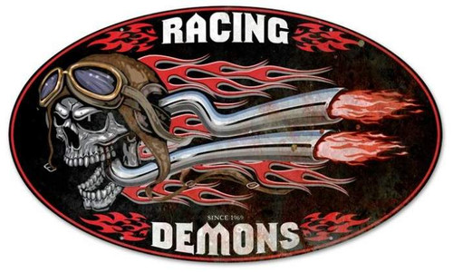 Retro Raising Demons Oval Metal Sign 24 x 14 Inches