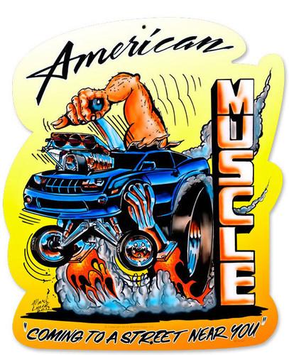 Retro American Muscle Custom Metal Shape 15 x 18 Inches