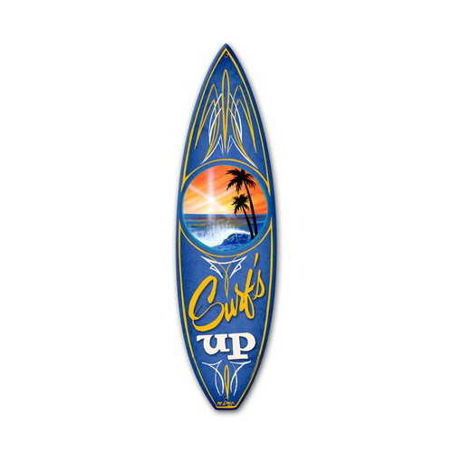 Retro Surfs Up Surfboard Metal Sign 6 x 22 Inches