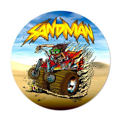 Retro Sand Man Round Metal Sign 14 x 14 Inches