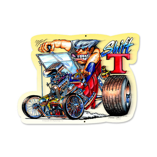 Retro Shift T Custom Metal Shape   18 x 12 Inches