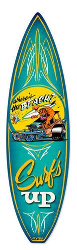 Retro Wheres The Beach Surfboard Metal Sign 6 x 22 Inches