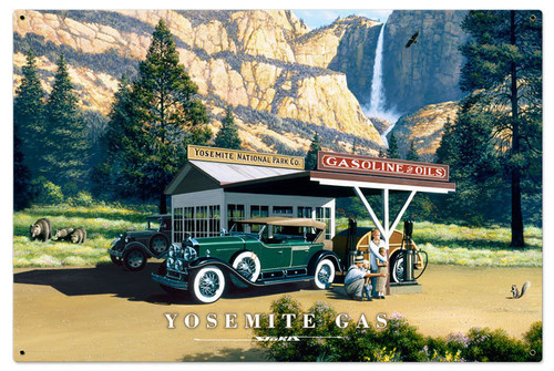 Retro Yosemite Gas Metal Sign 36 x 24 Inches