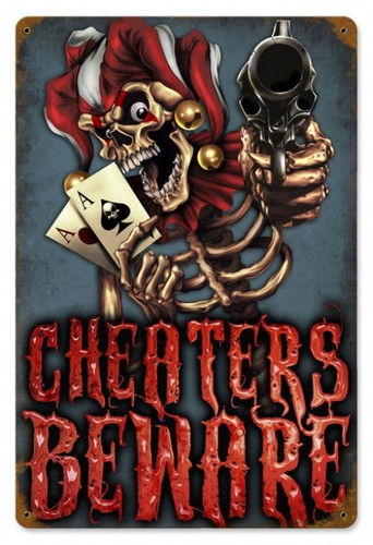 Vintage Cheaters Beware Metal Sign 12 x 18 Inches