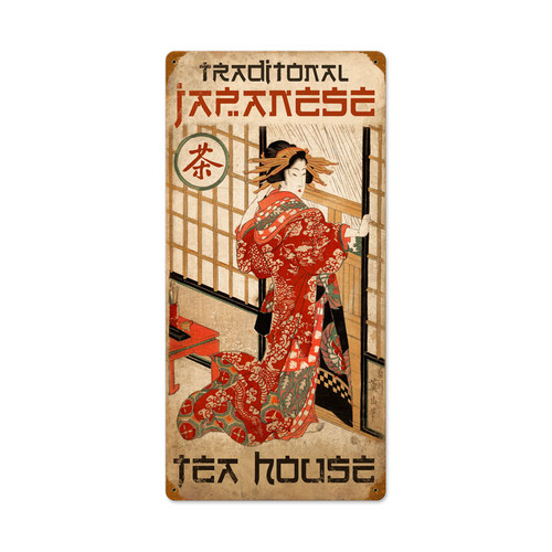 Retro Tea House Vintage Metal Sign 12 x 24 Inches
