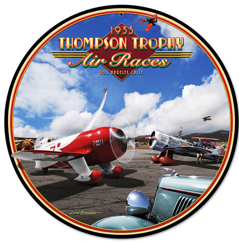 Retro Air Races Round Metal Sign 14 x 14 Inches
