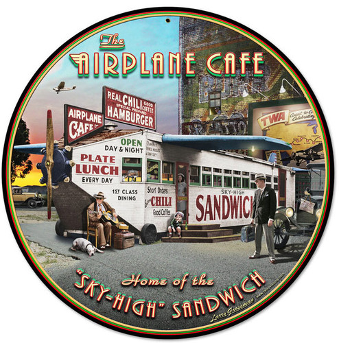 Retro Airplane Cafe Round Metal Sign 14 x 14 Inches