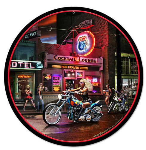 Retro Biker Bar Round Metal Sign 14 x 14 Inches