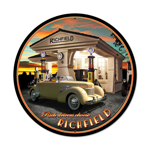 Retro Richfield Round Metal Sign 28 x 28 Inches