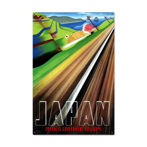 Retro Japan Railways Metal Sign 24 x 36 Inches