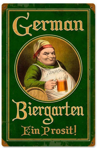 Retro German Biergarten Vintage Metal Sign 12 x 18 Inches