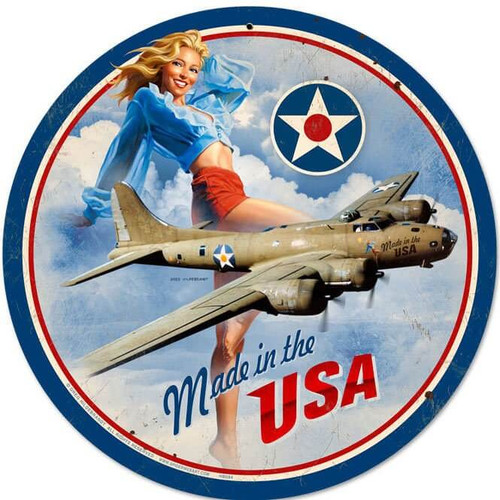 Retro USA B17 Round Metal Sign 14 x 14 Inches