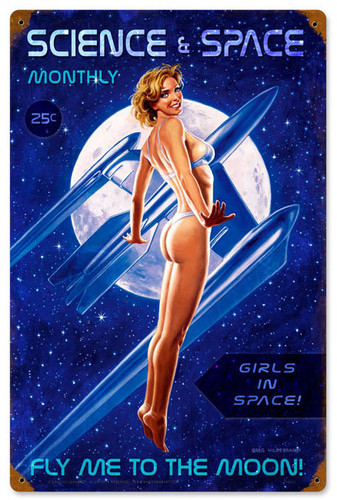 Fly Me To The Moon Pinup Girls Metal Sign 12 x 18 Inches