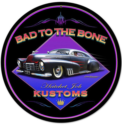 Retro Bad To The Bone Round Metal Sign 14 x 14 Inches