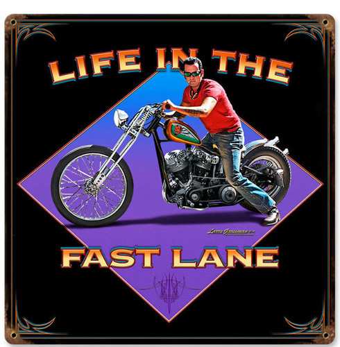 Retro Life in the Fast Lane  Metal Sign 12 x 12 Inches