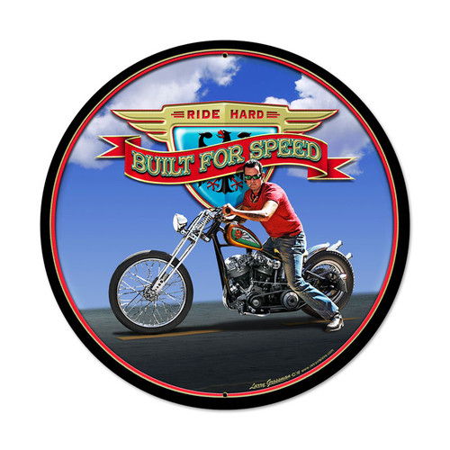 Retro Ride Hard Round Metal Sign 28 x 28 Inches