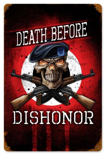 Retro Death Before Dishonor Metal Sign  18 x 12 Inches