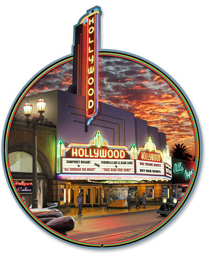 Hollywood Theater Custom Metal Shape Metal Sign 12 x 15 Inches