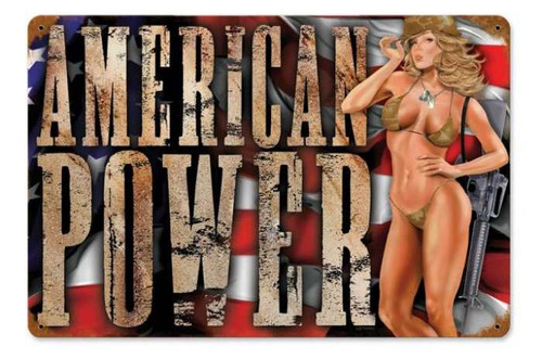Retro American Power  - Pin-Up Girl Metal Sign 18 x 12 Inches