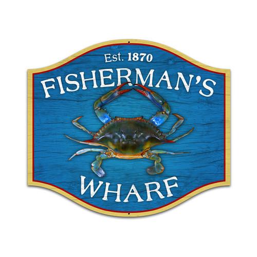 Retro Fishermans Wharf Custom Metal Shape Sign 18 x 16 Inches