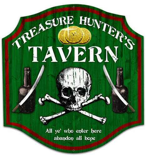 Retro Treasure Hunter Custom Metal Shape Sign 20 x 20 Inches