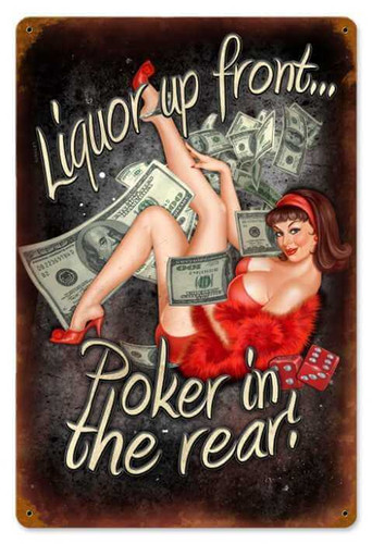 Vintage Poker In The Rear  - Pin-Up Girl Metal Sign 12 x 18 Inches