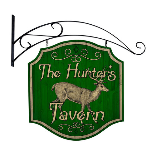 Retro Hunters Tavern Double Sided  with Wall Mount Sign 20 x 20 Inches